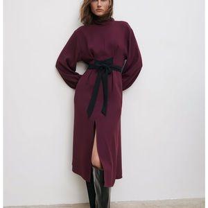 Zara Contrast Belt Dress